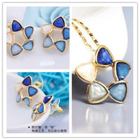 Wholesale Fine Popular Jewelry The Wind Of The Sea Suit Amazon Flower Word Suit Hight Quanlity Jewelry Suit Two Earrings One Necklace Freeshipping
