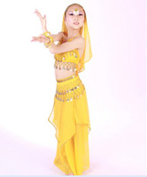 6T+ indian clothes - Childrens Day Performance Suit Childrens Indian Dance Performance Clothing Belly Dance Costume Full Sets Dress For KID Children M0187
