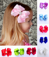 Wholesale 10 Color Inch Bows Toddler Baby Girl Hair Bow Children Boutique Hair bands hair clips Kids Hair Bow with Sparkly rhinestone Mix order