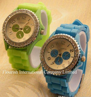 Casual battery green eye - Mix Colors Soft Band Unisex Tire pattern Geneva Watch candy jelly eyes rubber silicone Fashion Quartz Watches GW028
