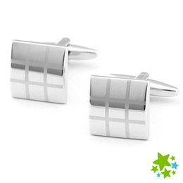 Fashion Laser Engraved Silvery Cufflinks Suit Shirt Plaid Metal cuff link Men French Button Gift For Anniversary Wedding Party