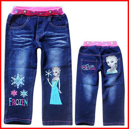 Wholesale 10 Discount New Girls Frozen Denim Trousers Children Elsa Anna Cartoon Blue Denim Long Pants Girls denim shorts jeans pants pc melee