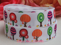 """Sashes Polyester White New style 7 8"""" (22mm) Fruit tree Grosgrain ribbon Printed ribbon DIY accessories 50 yards roll Free shipping"""