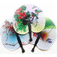 Paper paper fans - Color Flower Painting Folding Paper Fan Retro Hand Fans Classic Travel Fans Craft Gift SH745