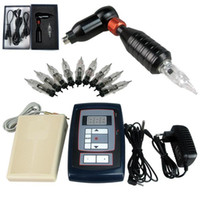 Wholesale Hawk Rotary Tattoo Machine Gun Kit Permanent Makeup Pen Digital Power Supply Pedal Needles RCA jACK Black