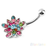 Wholesale Stainless Steel Rhinestone Crystal Flower Belly Navel Button Bar Ring Piercing