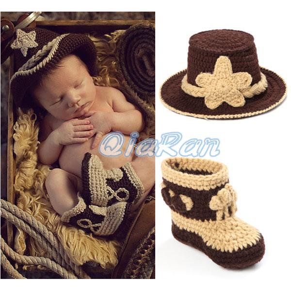 Crochet Baby Cowboy Set Pattern : 2017 Crochet Pattern Baby Cowboy Hat And Boots Set In ...