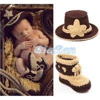 Cheap Crochet Pattern Baby Cowboy Hat and Boots Set in Brown Newborn Boy Photo Props Handmade Knitted Costume Outfit 1set H034
