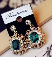Dangle & Chandelier Green and Grey South American Shiny Crystal Square Earrings Fashion Dazzling Rhinestone Pearls Tassel Dangle Chandelier Jewelry Ear Hoop Green Grey E-7