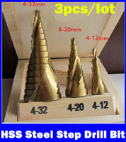 Wholesale 3Pcs mm mm mm HSS Steel Step Drill Bit Bits Tool Set For Wood Steel Triangle Handle metric measures NEW TOP