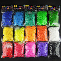 rainbow loom rubber bands - 2015 Colorful Rubber band loom Kit DIY Wrist Bands Rainbow Loom Bracelet for kids bands C clips hook Colors