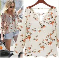 Women 100% Linen Cotton,Polyester,Acetate New 2014 Women Bird Printed Chiffon V-neck Long Sleeves Vintage Dudalina Shirt Femininas Designer Tops Blusas Renda