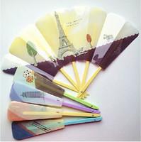 Wholesale Color Painting Folding Fans Creative Plastic Hand Fans Student Gift Fans Party Favors SH753