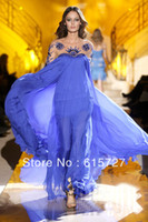 Reference Images Scalloped Natural Greek Goddess 2014 Zuhair Murad Indigo Chiffon Beaded See Through Long Sleeve Long Prom Dress Evening Party Gown