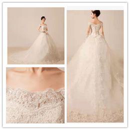 Hot 2014 new design fashion lace wedding dresses sexy bateau neck short sleeve court train A-line wedding dresses