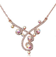 Pendant Necklaces Asian & East Indian Women's RG N025 Timbo Warping Plant Necklace Rose Gold Plated 2014 Accessories Nickel Free Promotion Item Free Shipping