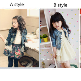 Wholesale freeshipping newCool Korean Girl s Kids Lace Denim Long Sleeve Zipper Jacketbaby colth Children s Outerwear baby colth lovely girl