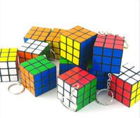 Wholesale Mini Rubik s cube Keychain Children s educational toys Size x3x3cm Puzzle Magic Game Toy Keychain Creative rubik s cube pendant