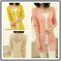 Wholesale Fashion New women sweater knit hollow sweater cardigan spring summer long style women knitwear piece