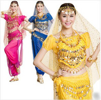 Wholesale 2014 New For Big Girls Ladies Indian Dance Performance Clothing Belly Dance Costume Full Sets Dress Puff Sleeve set M0190