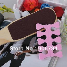 Wholesale 2PCS Nail Art Salon Soft Finger Toe Separator Pedicure Manicure Tool Pink Rub feet tool