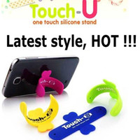 Wholesale Universal Portable Touch U One Touch Silicone Stand Holder Cell Phone Mounts For iPhone Samsung HTC Sony Mobile Phones Tablets
