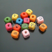 Bead Caps Square-shape Wood set of 300 Mixed color alphabet better little Wood wooden beads for Necklace bracelet diy 8mm