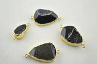 Cheap Pendant Necklaces black drusy geode agate Best South American Women's jewelry connector