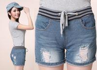 Women 100% Linen Shorts shirt 2014 summer women's jeans shorts drawstring washed skinny hot pants ladies high waist ripped flange hole denim shorts xxl ali292