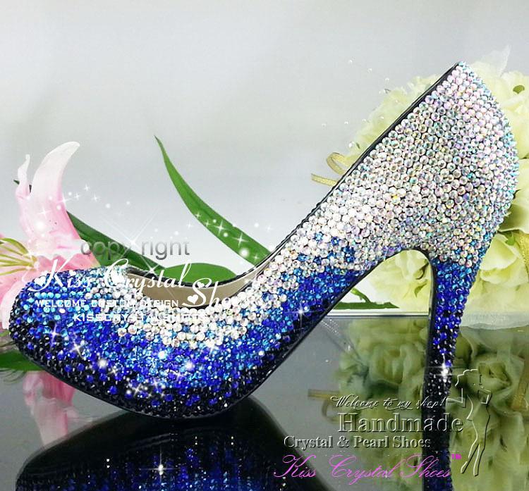 Blue Wedding Shoes Custom Design Luxury Unique New Handmade