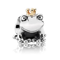 Wholesale Beads Sterling Silver The Frog Prince with k GP crown Handmade Charms For Pandora Infinity Bracelets X335
