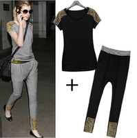 Women Short Sleeve Regular 2014 New Women's Suits Short T-shirt + pants Slim Tracksuits Casual Women Suit Harlan Pants