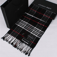 Wholesale Factory Supply High Quality Spring Winter Men Classic Lattice Synthetic Wool Thin Scarf Without gift box
