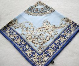 Fashion Flowers Blue Spring And Autumn Print Silk Scarf Women Hand Roll-Hemmed Silk Twill Infinity Square Shawl