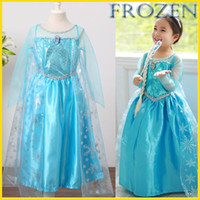 Wholesale 2014 New Frozen Girls Party Dresses Baby Queen Elsa Anna Princess Dresses Kids Sequin Dresses Christmas Children Dresses FS GD547