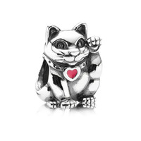 Wholesale Beads Sterling Silver Plutus cat Handmade Charms For Pandora Infinity Bracelets