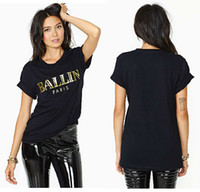 Women Polo Tops 2014BALLIN gilt letters printed black round neck short sleeve roll sleeve T-shirt haoduoyi new arrival oversized tops for women