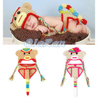 Boy Summer Crochet Hats Baby Sock Monkey Beanie Hat with Pants Set Newborn Toddler Crochet Animal Costume Outfit Photography Props H043