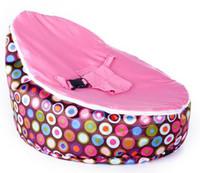 Wholesale pink dot pattern base baby seat retail baby bed baby seat bean bag baby bean bag