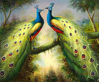 One Panel Oil Painting Fashion Free Shipping ,Lots Wholesale ,147#,100% HANDCRAFTS Art OIL PAINTING:Animals two male peacocks in love CANVAS, Any customized size accepted