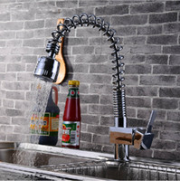 Wholesale Brass Polished Chrome Spring Pull Out Kitchen Sink Faucet Single Handle Hot Cold Water Kitchen Mixer tap