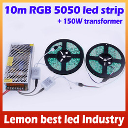10M 5050 LED Strip Waterproof RGB Warm White Cool White + 24Key Remote + 150W Transformer for Home Party Decoration Lights