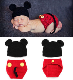 Wholesale Mickey Baby Hat with Diaper Cover Set Photography Props for Newborn Handmade Crochet Toddler Animal Beanie Costume set H048