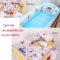 Wholesale 5 Sets Baby bedding sets Giraffe Bear character bed around and pillow sheet Children bedding sets cotton baby nursery bedding