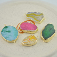 Wholesale New Style Gold Plated amp Mixed Color Drusy Druzy Connector Beads gem stone Findings