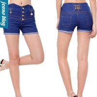 Shorts Women Flare Free Shipping 2014 New summer European Fashion Women Vintage High Waist Ripped Denim Shorts Casual Jeans Plus Size LD 1036