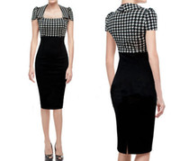 Wholesale S XXL new women party dress sleeveless Houndstooth pattern stitching black color bodycon dress