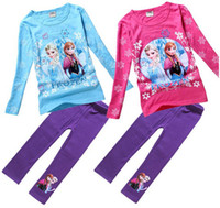 tunic shirt - Froze Princess Girls Clothing Outfit Froze Printed T shirt Tunic Top Elastic Pants Long Sleeve Loungewear setTwo Color M0202
