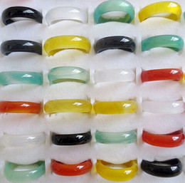 Wholesale Fashion men women jade agate ring band rings charm jewelry colors