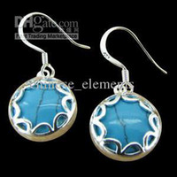 Wholesale 925 sterling silver Natural turquoise blue circular earrings EH100
